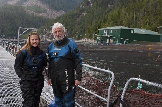 Holly Lohuis, Jean-Michel Cousteau and the Ocean Futures Society were guests of Marine Harvest in British Columbia where the team spent time underwater, filming their farmed Atlantic salmon. Photo by Carrie Vonderhaar