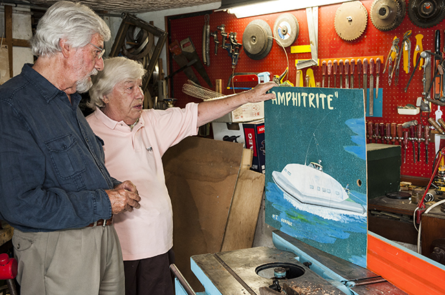 Jean-Michel Cousteau and Jean-Charles Roux at Roux's studio