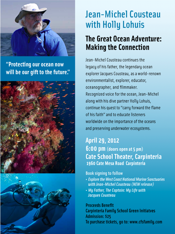 Jean-Michel Cousteau April 29, 2012 presentation in Carpinteria, California